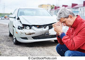 衝突, 大破, 自動車, 後で, 混乱, 人