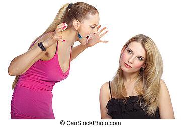 衝突, 婦女, 年輕, twou