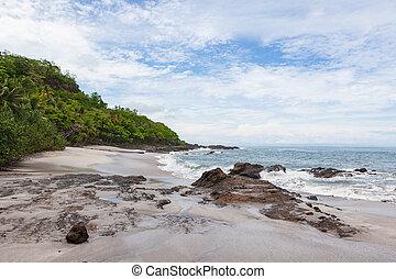 衝突, 岩, 浜, 波, montezuma