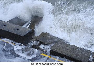 衝突, 水, quayside, 波, 破壊しなさい, 道