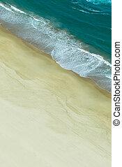 衝突, 浜, 光景, 航空写真, 波