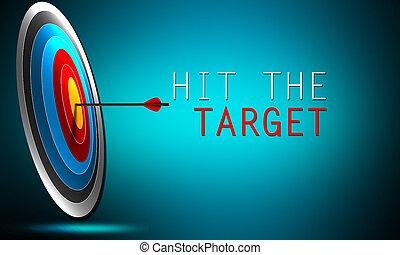 衝突, 矢, 成功, target., 概念, 丁度