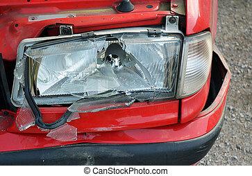 衝突, 自動車, -, 壊される, ライト, 前部, 赤