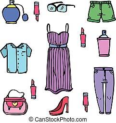 衣服, いたずら書き, セット, コレクション, 女性