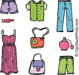 衣服, スタイル, 女性, コレクション, 株