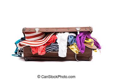 衣服, フルである, スーツケース