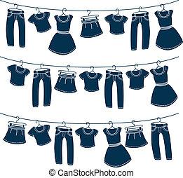 衣服, 上, 洗滌線