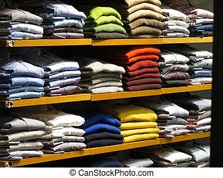 衣服, 中に, a, 店