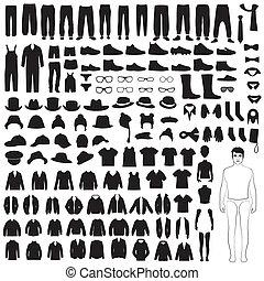 衣服, 人, 黑色半面畫像, 圖象