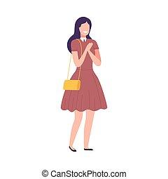 衣服, 偶然, 幸せ, 魅力的, 流行, 微笑, 平ら, 身に着けていること, 女の子, イラスト, 特徴, ベクトル, ブルネット, 女