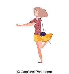 衣服, 偶然, 幸せ, 魅力的, 流行, 微笑, 平ら, 身に着けていること, 女の子, イラスト, 特徴, ベクトル, 女