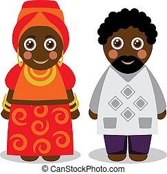 衣服, 国民, 女, 人, アフリカ