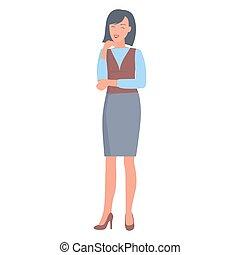 衣服, 女性実業家, 形式的, イラスト, 幸せ