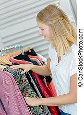 衣服, 女, 若い, 店