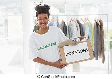 衣服, 寄付, 女, 若い, 微笑