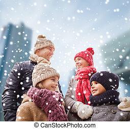 衣服, 幸せ, 冬, 家族, 屋外で
