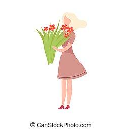 衣服, 幸せ, 魅力的, 偶然, 流行, 微笑, 平ら, 身に着けていること, 花束, 保有物, 女の子, イラスト, 若い, 特徴, 花, ベクトル, 女, 美しい