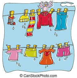 衣服, 掛かること