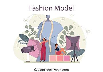衣服, 新しい男, ファッション, 女, 表しなさい, モデル, concept.