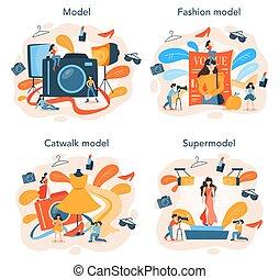 衣服, 概念, 新しい, 表しなさい, 人, モデル, set., 女, ファッション
