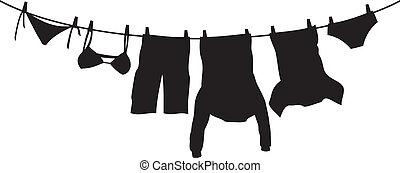 衣服, 物干し綱, 掛かること