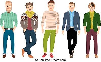 衣服, 確信した, ファッション, 偶然, 人