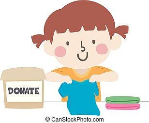 衣服, 箱, 子供, 折り目, 女の子, イラスト, 寄付しなさい
