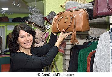 衣服, 購入, 女, 市場