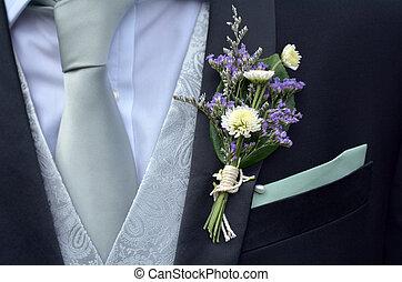 衣服, boutonniere, 胸針, 裝飾花, 新郎