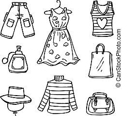 衣服, doodles, 女性, コレクション, 株