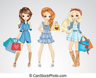 衣服, jeens, girs, 買い物