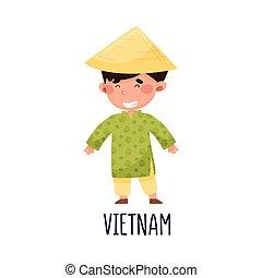 衣装, イラスト, かわいい, ベトナム, 男の子, ベクトル, 国民, 身に着けていること
