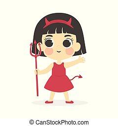衣装, ベクトル, 悪魔, 女の子, ハロウィーン, 赤, かわいい
