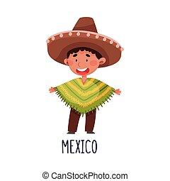 衣装, メキシコ\, イラスト, かわいい, 男の子, ベクトル, 国民, 身に着けていること