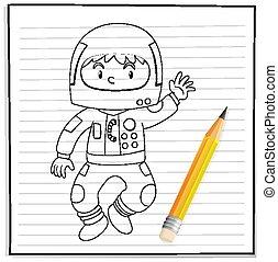 衣装, 男の子, 宇宙飛行士, 図画, アウトライン, 手