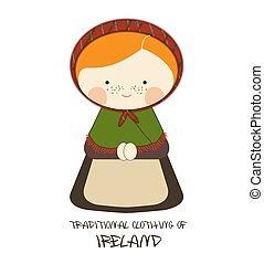 衣類, スタイル, アイルランド, 漫画, 伝統的である