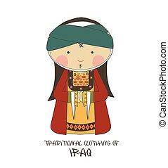 衣類, スタイル, 漫画, イラク, 伝統的である