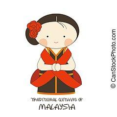 衣類, スタイル, 漫画, マレーシア, 伝統的である