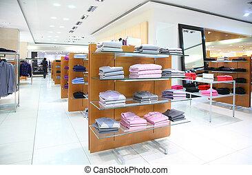 衣類, 上に, shelfs, 中に, 店