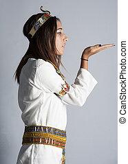衣類, 女の子, ポーズを取る, 若い, エジプト人