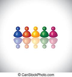 表しなさい, オフィス, graphic., サイン, 一緒に, スタッフ, ミーティング, グループ, アイコン, -, チーム, ベクトル, 従業員, 3d, 多様性, カラフルである, 会社, イラスト, 統一, 子供, これ, 従業員, &, ∥など∥, 共同体, 缶, ∥あるいは∥