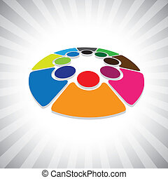 表しなさい, &, 子供, graphic-, 概念, 共有, 子供, 概念, 共同体, ベクトル, icons(...