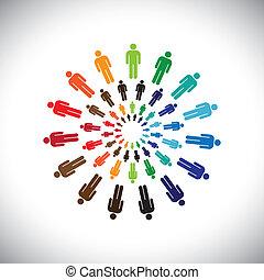 表しなさい, 概念, 人々, 世界的である, 共同で行なう, 相互作用, &, また, 他, 多民族, カラフルである, 社会, コミュニティー, circles., グラフィック, これ, チーム, ベクトル, 缶, それぞれ, 会いなさい, ∥あるいは∥