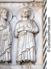 表すこと, bass-relief, 使徒, 聖者, イタリア, 大聖堂, s.martino, lucca, thomas