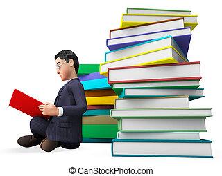 表す, 助け, 大学, faq, 本, ビジネスマン, 読書