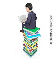 表す, 助け, 探索, 学びなさい, ビジネスマン, 教育