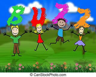 表す, 子供, 関係, 興奮, ブンブンいう音, 公衆