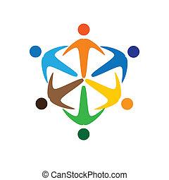 表す, 概念, のように, カラフルである, 人々, graphic-, &, socially, イラスト, 共用体, icons(signs)., ベクトル, 接続される, 概念, 労働者, 遊び, 友情, 多様性, 共有