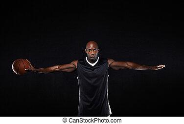 表演者, 他的, 伸出, 武器, 籃球