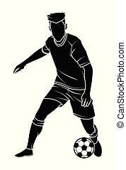表演者, 足球, 侧面影象, ball., (soccer)